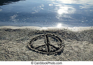 Peace written on the beach