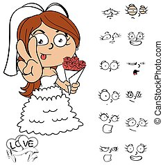 peace young bride cartoon emotions