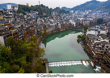 Peaceful aerial view of Fenghuang ancient town in China