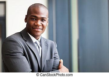 peaceful african american businessman