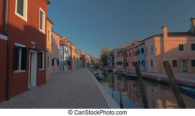 Peaceful and picturesque view of Burano island with colored...