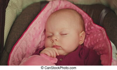 Peaceful Baby Sleeping in a Car Seat on pink blanket holding pink pig