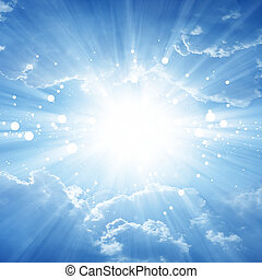Peaceful background - beautiful blue sky with bright sun, ...