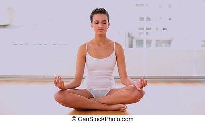 Peaceful beautiful woman relaxing