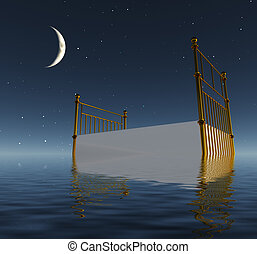 Bed afloat on water - Peaceful Bed afloat on water