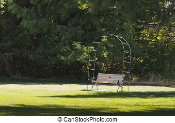 Peaceful bench in the shade
