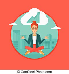 Peaceful business woman doing yoga. - Peaceful business...