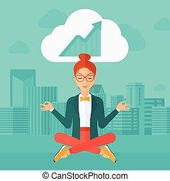 Peaceful business woman meditating.