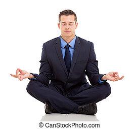 businessman meditating
