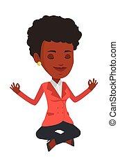 Peaceful businesswoman meditating in lotus pose.