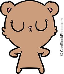 peaceful cartoon bear cub