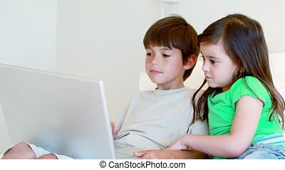 Peaceful children using a laptop in a bright room
