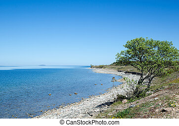 Peaceful coastline with clear blue and calm water