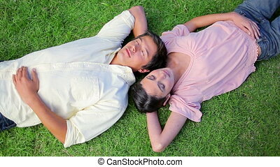 Peaceful couple napping while lying on the grass