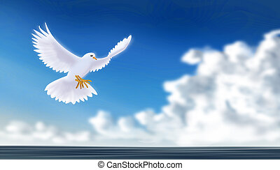 Dove, sign of peace, flying over blue sky.