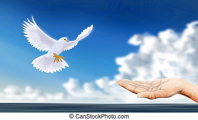 welcome a dove, sign of peace, with an extending hand.