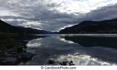 Peaceful evening at lake in Norway