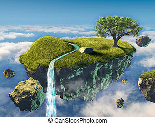 Peaceful island - Small island floating in the sky. Digital...