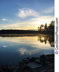 Peaceful Lake at Sunset