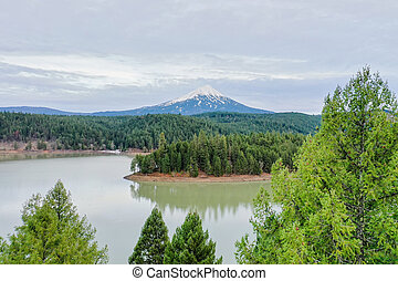 Peaceful lake in the forest with a mountain as background