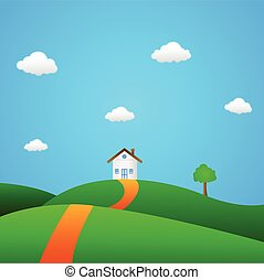 Vector illustration of clean green environment with a home.