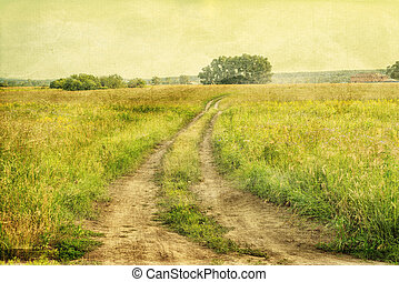 Peaceful landscape with country road, retro styled photo -...