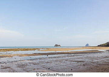 Peaceful low tide beach, Thailand