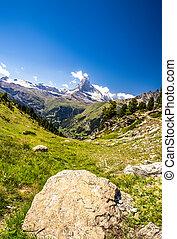 Matterhorn mountain in sunny day