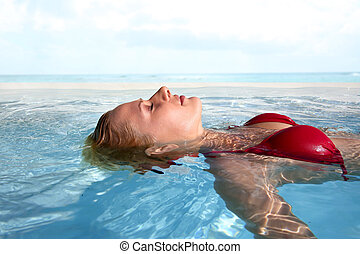 Peaceful moment in swimming-pool