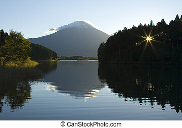Peaceful Morning - A peaceful morning view of Mount Fuji.