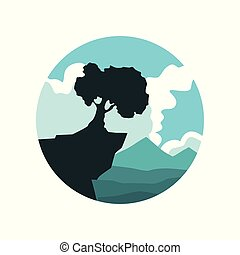 Peaceful nature landscape with lonely tree on the cliff. Blue mountains and white clouds on background. Natural environment. Flat vector emblem of nature