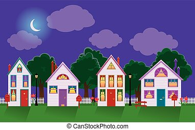Peaceful night cityscape of a house in the moonlight