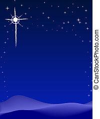 Peaceful starry night background scene