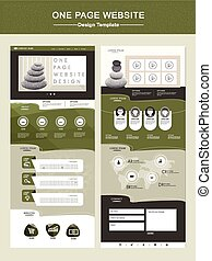 peaceful one page website design template in green