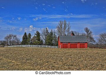 Peaceful Red Barn in the Countryside Iowa, USA