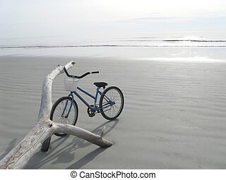 peaceful morning bike stop on the beach