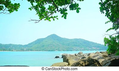 """Peaceful, Rocky Tropical Beach in Kamala, Phuket, Thailand"""