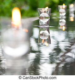 Peaceful Setting Candle on Water