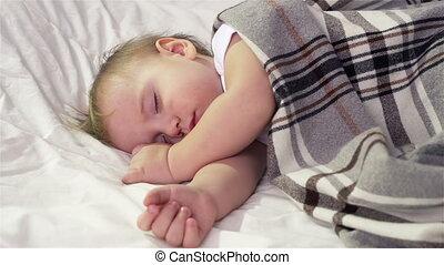 Peaceful Slumber - Tot sleeping peacefully under a woolen...