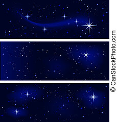 Peaceful starry night, silent and tranquil - 3 banners with ...