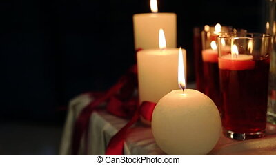 Peaceful valentine candles light for dinner on table...