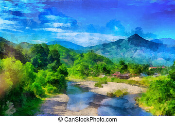 Peaceful village background