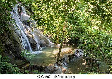 Peaceful waterfall in the mexican jungle