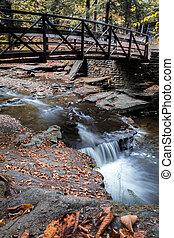 Peaceful waterfall under beautiful bridge