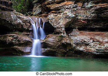 Peaceful Waterfall - Waterfall along a hiking trail in...