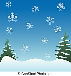 Peaceful winter scene background with pine trees, gentle ...