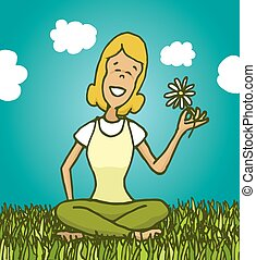 Peaceful woman enjoying nature and smelling a flower