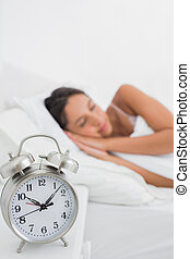 Peaceful woman sleeping in