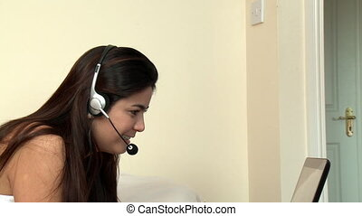 Peaceful woman with headset on