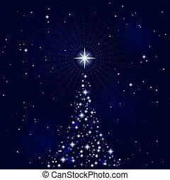 peacefull, estrelado, noturna, com, árvore natal